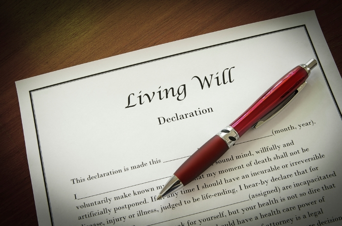 Living Will document with pen, closeup